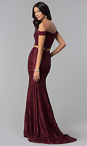 Image of off-the-shoulder lace two-piece long prom dress. Style: DQ-2299 Back Image
