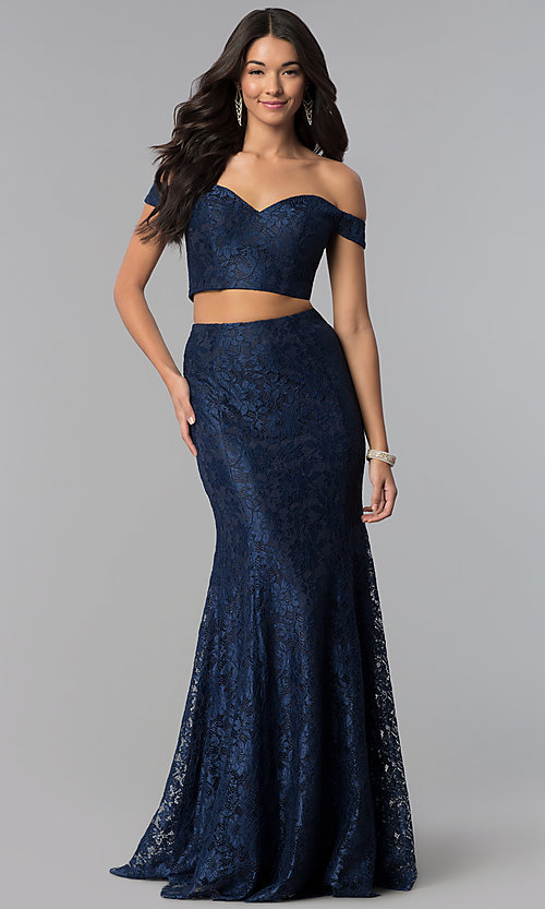 Image of off-the-shoulder lace two-piece long prom dress. Style: DQ-2299 Front Image