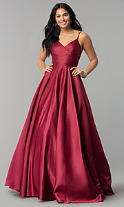 Image of long v-neck prom dress with adjustable straps. Style: DQ-2339 Detail Image 2