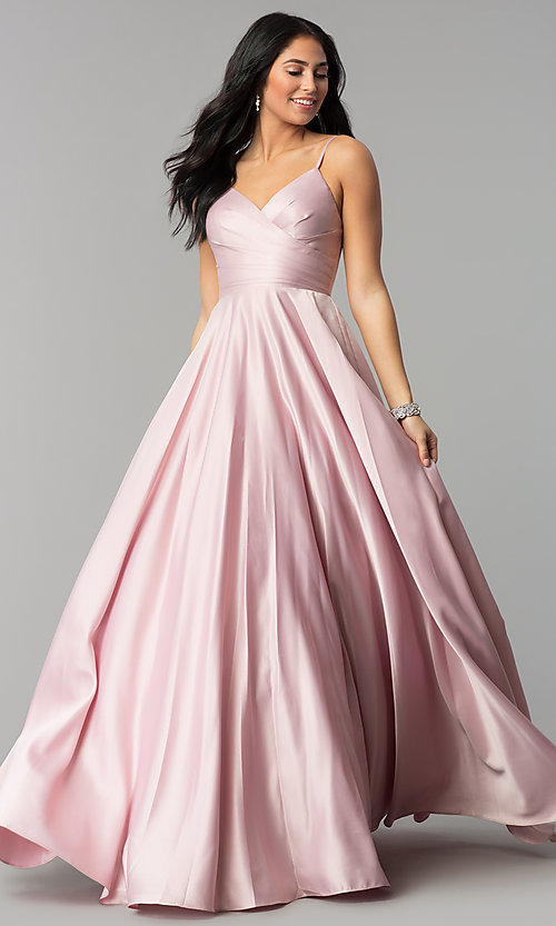 Image of long v-neck prom dress with adjustable straps. Style: DQ-2339 Front Image