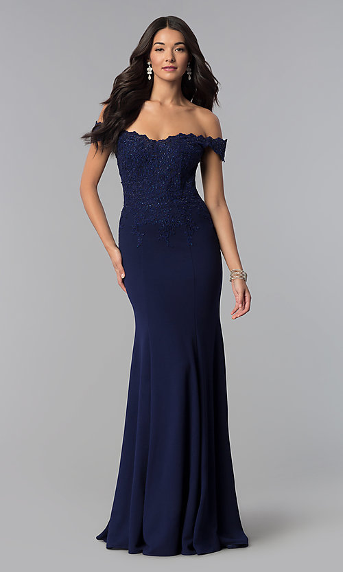 Image of sweetheart off-the-shoulder long prom dress with lace. Style: DQ-2358 Detail Image 3