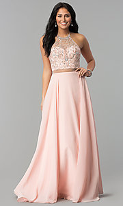 Image of long a-line prom dresses with sheer waist and beads. Style: DQ-2341 Detail Image 2