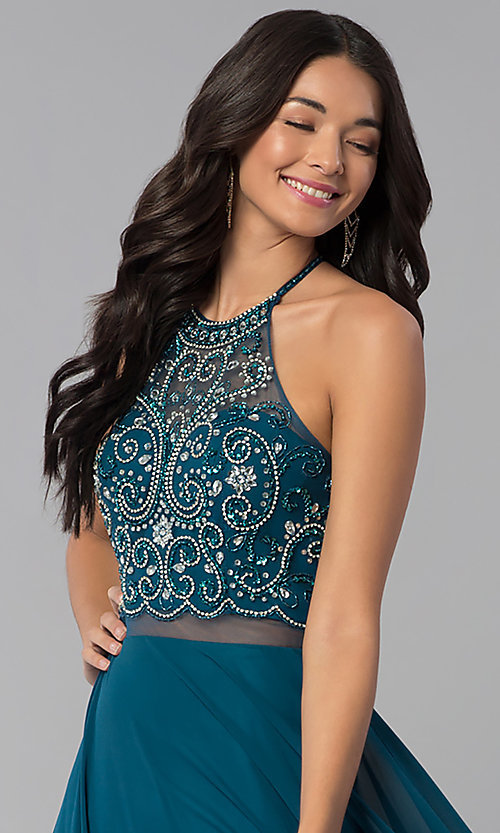Image of long a-line prom dresses with sheer waist and beads. Style: DQ-2341 Detail Image 1
