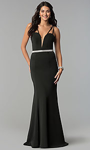 Image of long v-neck prom dress with beaded waist. Style: CD-GL-G782 Detail Image 3