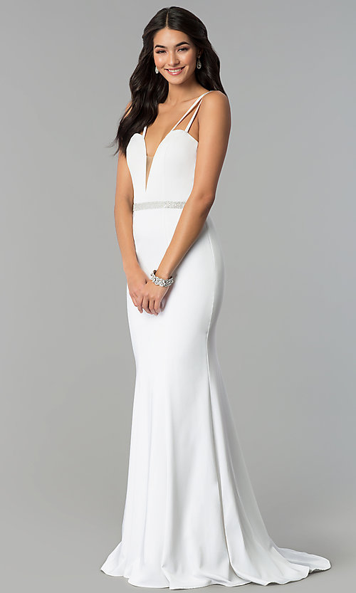 Image of long v-neck prom dress with beaded waist. Style: CD-GL-G782 Detail Image 2