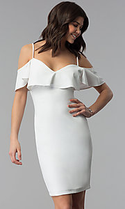 Image of ivory white off-shoulder party dress with flounce. Style: EM-FPC-3405-120 Front Image