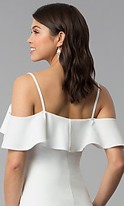 Image of ivory white off-shoulder party dress with flounce. Style: EM-FPC-3405-120 Detail Image 2