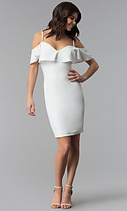 Image of ivory white off-shoulder party dress with flounce. Style: EM-FPC-3405-120 Detail Image 3