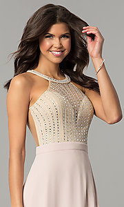Image of long dusty blush pink prom dress by PromGirl.  Style: SOI-PL-M17330 Detail Image 1