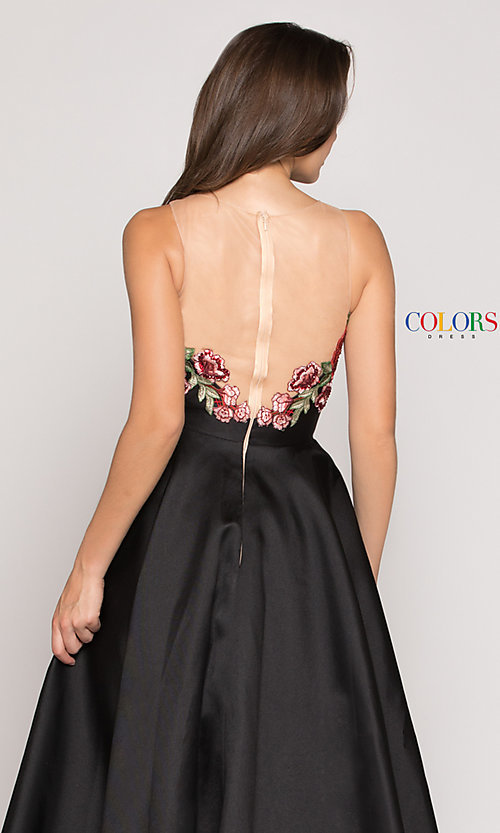 Image of a-line high-low illusion-v-neck prom dress. Style: CD-1811 Detail Image 2