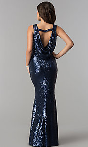 Image of long sequin prom dress with draped cowl by PromGirl. Style: LP-PL-24796 Back Image
