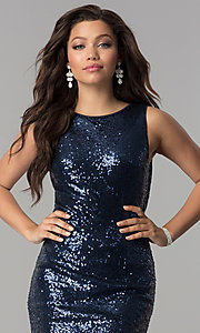 Image of long sequin prom dress with draped cowl by PromGirl. Style: LP-PL-24796 Detail Image 1