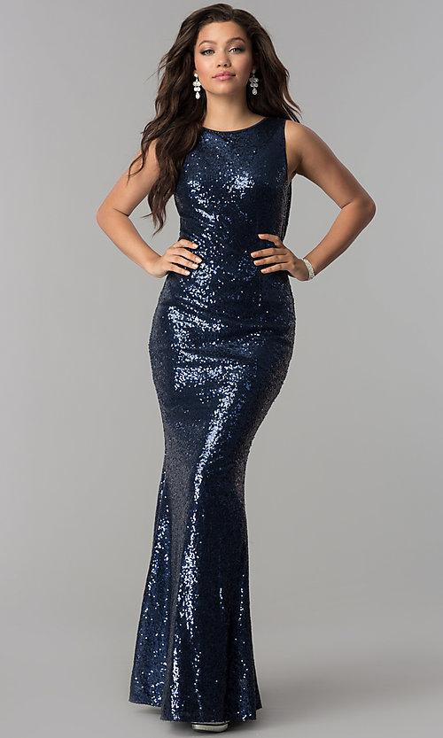 Image of long sequin prom dress with draped cowl by PromGirl. Style: LP-PL-24796 Front Image