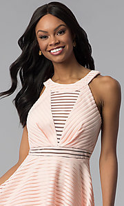 Image of short a-line graduation party dress with stripes. Style: DMO-J320917 Detail Image 1