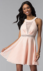 Image of short a-line graduation party dress with stripes. Style: DMO-J320917 Front Image