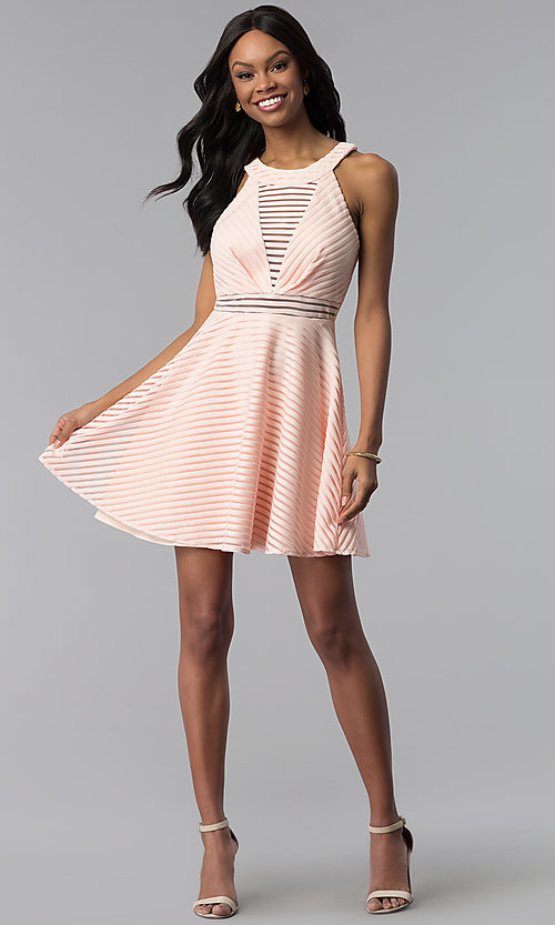 Image of short a-line graduation party dress with stripes. Style: DMO-J320917 Detail Image 3
