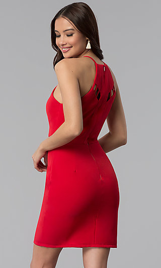 Short Red Scoop-Neck Party Dress with Cut Outs