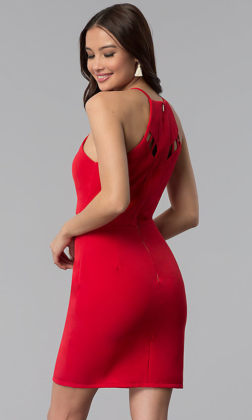 Image of short red scoop-neck party dress with cut outs. Style: DMO-J320997 Front Image