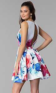 Image of short floral-print v-neck sleeveless party dress. Style: DMO-J321577 Back Image