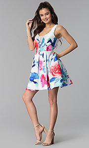 Image of short floral-print v-neck sleeveless party dress. Style: DMO-J321577 Detail Image 3