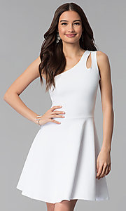 Image of one-shoulder short white graduation party dress. Style: CH-2911W Front Image