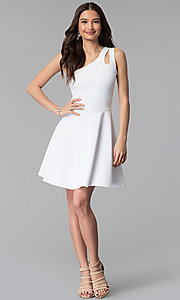 Image of one-shoulder short white graduation party dress. Style: CH-2911W Detail Image 3