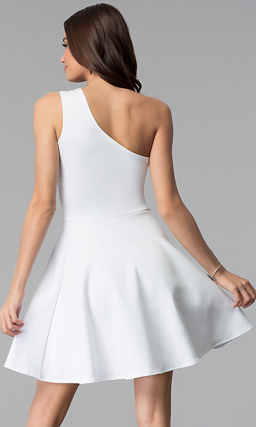 Image of one-shoulder short white graduation party dress. Style: CH-2911W Back Image