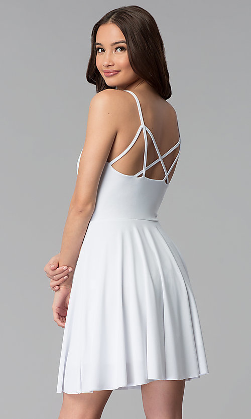 Image of caged-back short white graduation party dress. Style: CH-2790W Back Image