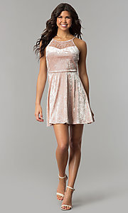 Image of short mauve pink velvet party dress with lace. Style: AS-A7616449 Detail Image 2