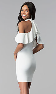Image of white high-neck cold-shoulder graduation party dress. Style: BLU-BD8527W Back Image