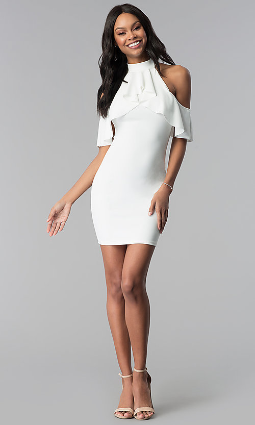 Image of white high-neck cold-shoulder graduation party dress. Style: BLU-BD8527W Detail Image 3