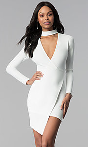 Image of sleeved faux-wrap short white grad party dress. Style: BLU-BD8383W Front Image