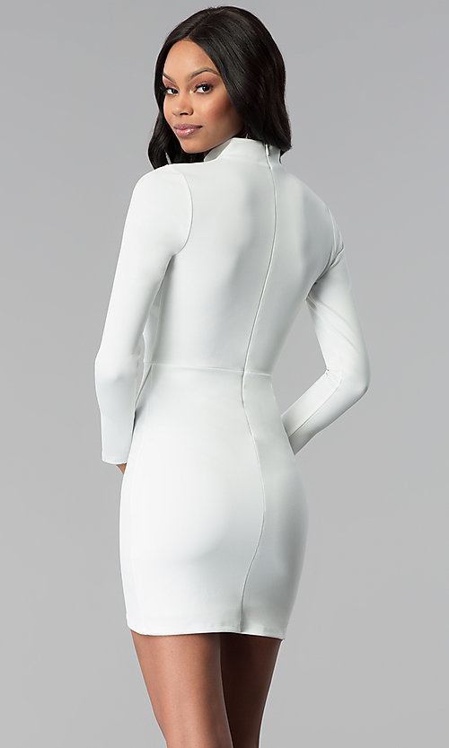 Image of sleeved faux-wrap short white grad party dress. Style: BLU-BD8383W Back Image