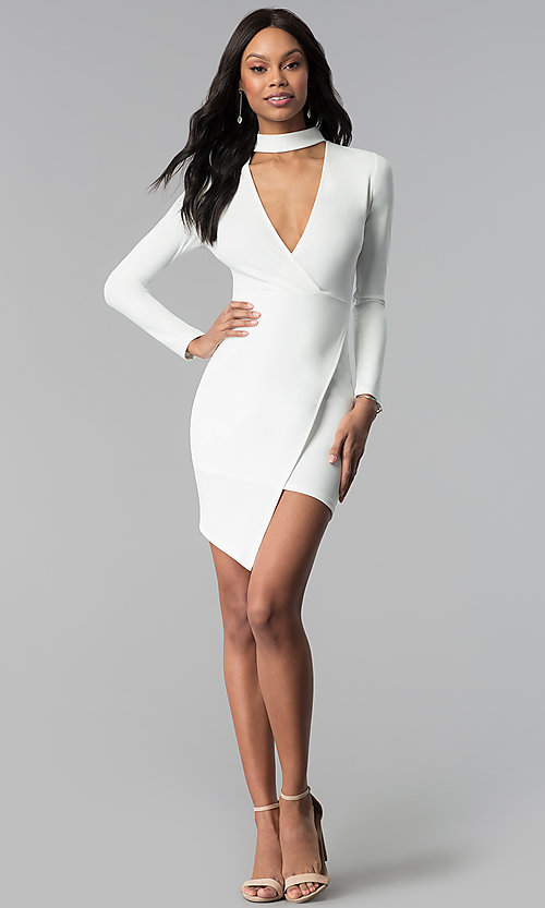 Image of sleeved faux-wrap short white grad party dress. Style: BLU-BD8383W Detail Image 3