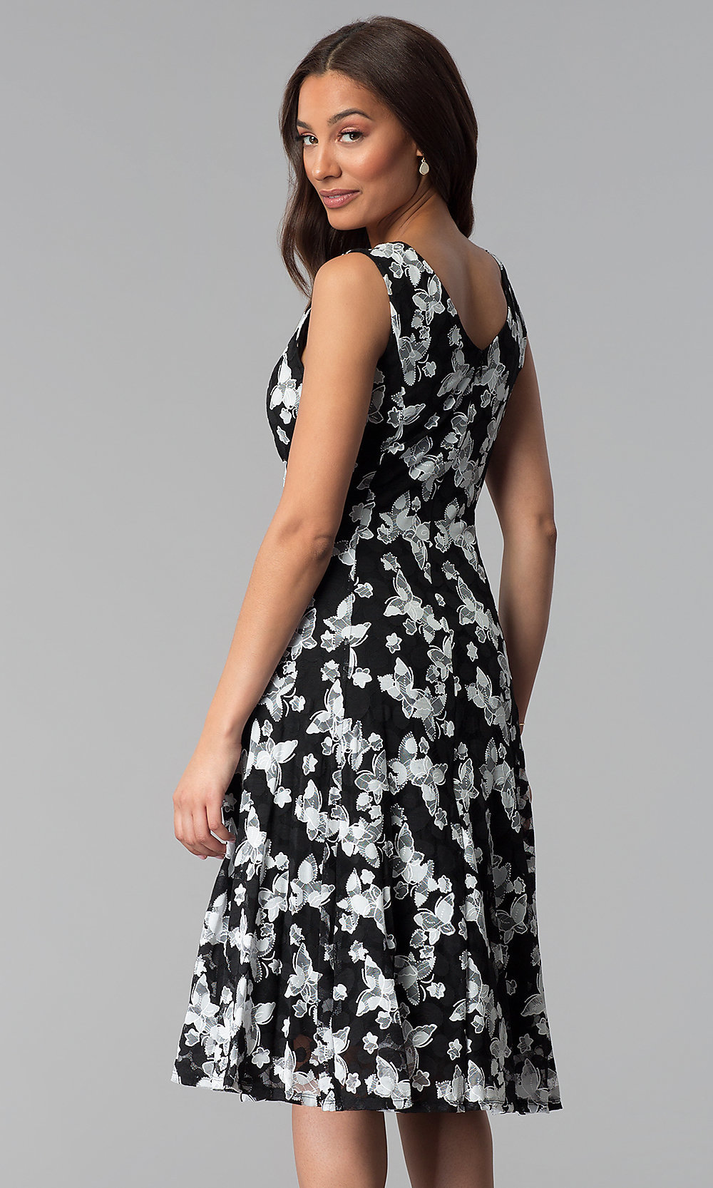 White Embroidered,Lace Black Party Dress , PromGirl
