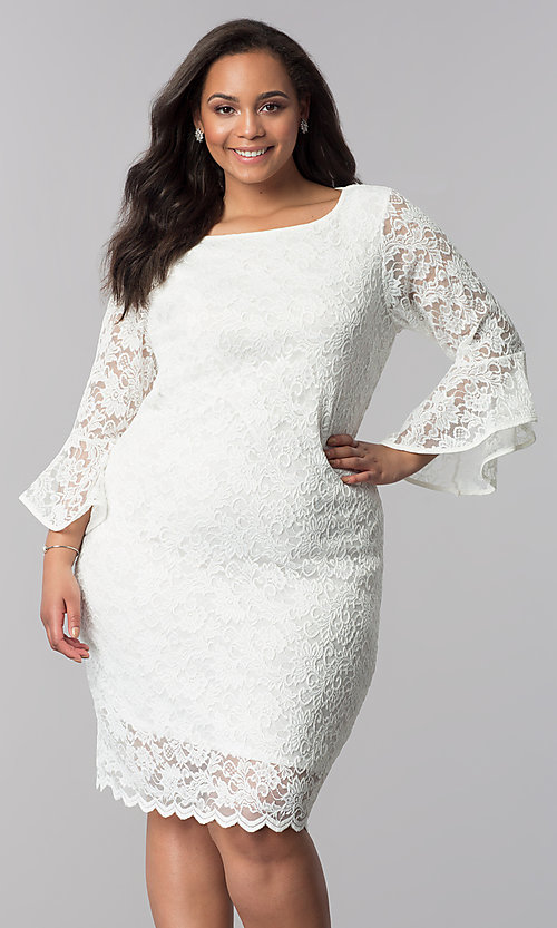 White Knee-Length Plus-Size Lace Party Dress -PromGirl