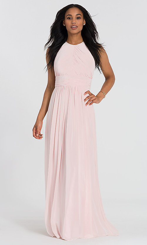 Image of long Dessy Collection high-neck bridesmaid dress. Style: DG-D-2918 Detail Image 1