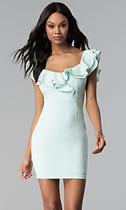 Image of ruffled off-the-shoulder white graduation dress. Style: BLU-IBD8692 Front Image