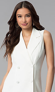 Image of short double-breasted white casual coat dress. Style: BLU-IBD8849 Detail Image 1