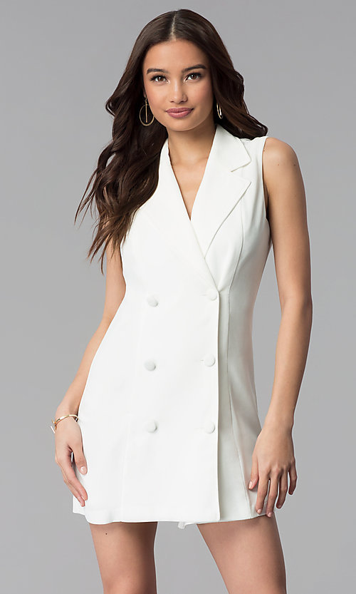 Image of short double-breasted white casual coat dress. Style: BLU-IBD8849 Front Image