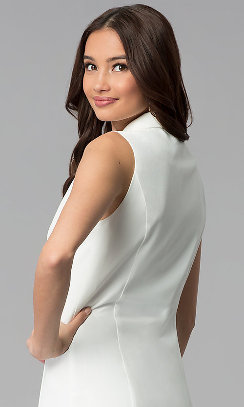 Image of short double-breasted white casual coat dress. Style: BLU-IBD8849 Detail Image 2