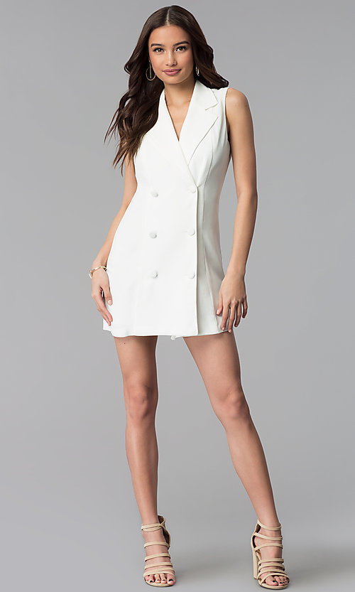 Image of short double-breasted white casual coat dress. Style: BLU-IBD8849 Detail Image 3
