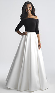 Image of off-the-shoulder long prom dress by Madison James. Style: NM-18-609 Front Image