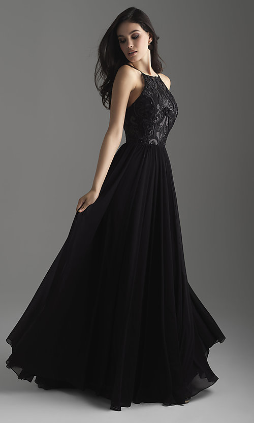 Image of high-neck embroidered prom dress by Madison James. Style: NM-18-605 Detail Image 1