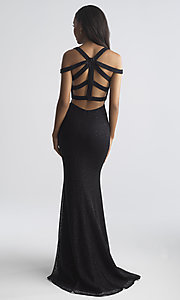 Image of long strappy-open-back prom dress by Madison James. Style: NM-18-730 Back Image