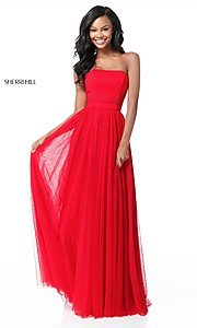 Image of long embellished strapless Sherri Hill Prom Dress. Style: SH-51667 Front Image