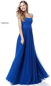 Image of long embellished strapless Sherri Hill Prom Dress. Style: SH-51667 Detail Image 1