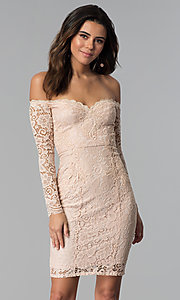 Image of long-sleeve lace off-the-shoulder graduation dress. Style: LP-25070 Front Image