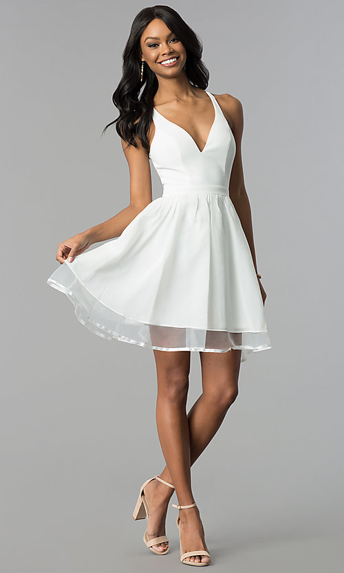 Image of short ivory a-line graduation dress with lace back. Style: LP-24744i Detail Image 3