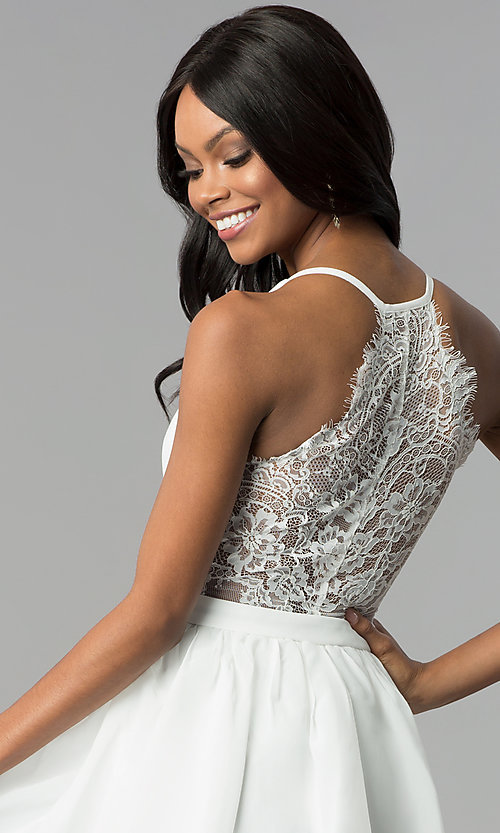 Image of short ivory a-line graduation dress with lace back. Style: LP-24744i Detail Image 2